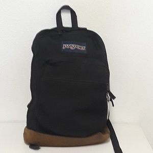 Jansport T133 Nylon Leather 3 Compartment Backpack
